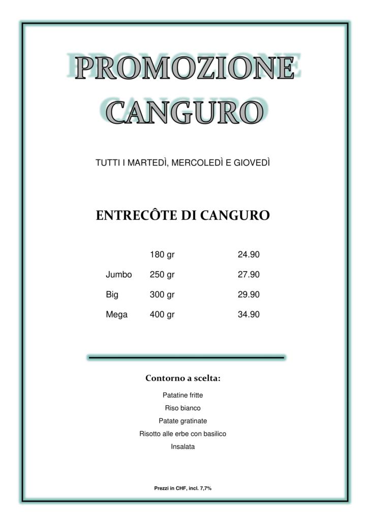 Ristorante Costa Azzurra Solduno Promozione canguro